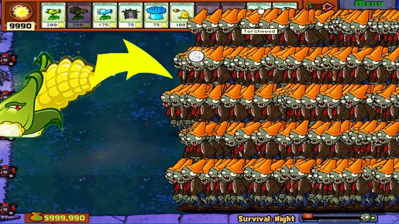 Plants vs Zombies Epic Hack - Cob Cannon vs 99999 Football Zombie PvZ
