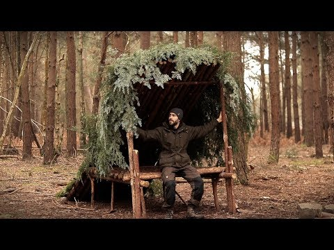 Building a Bushcraft Camp with Hand Tools: Full Build from Start to Finish