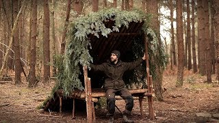 Bushcraft Camp with Hand Tools: Full Build from Start to Finish