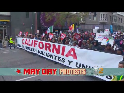 May Day Protesters March In Downtown LA