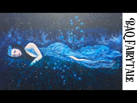 How to paint with Acrylic on Canvas Celestial Princess part 3