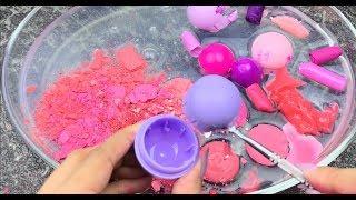 خلط اكبر كمية مكياج وردي و موف مع سلايم شفاف !😱 | mixing pink and purple makeup into clear slime