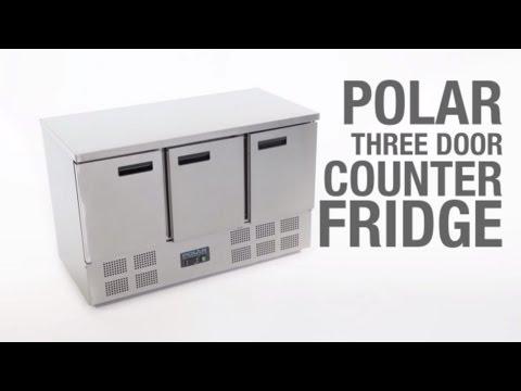 Polar 3 Door Counter Fridge 368Ltr (G622)