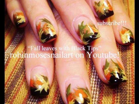 Fall Leaf Nail Art DIY Thanksgiving Leaves nails Design Tutorial