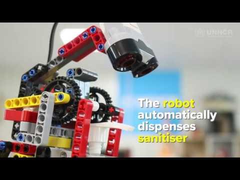 LEGO sanitiser robot, a refugee invention, battles coronavirus