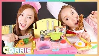 똘똘이 요리카트 장난감 으로 캐리와 엘리의 요리대결 CarrieAndToys