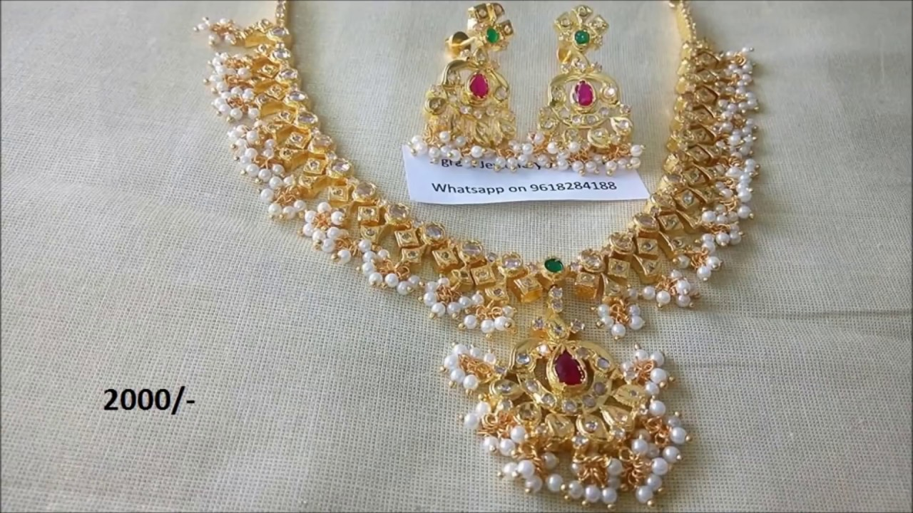 f1e0113437 One gram gold jewellery wholesale with price. Designer Collection