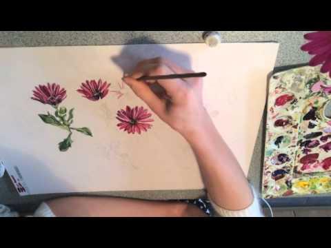 Design Development Purple Rain Daisies Rebecca O'Grady Textile Print Designer