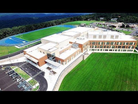 DJI Inspire 1 Drone around Allegany High School, Cumberland, Maryland 4k