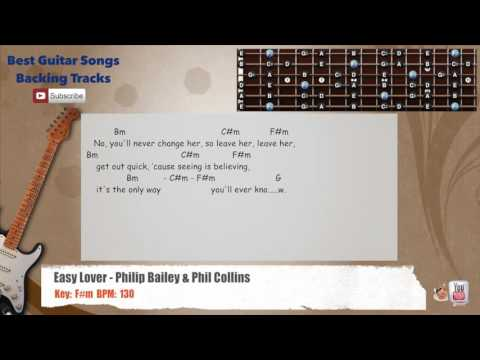 Easy Lover - Philip Bailey & Phil Collins Guitar Backing Track with scale, chords and lyrics