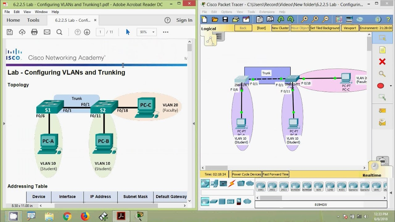 6 2 2 5 Lab - Configuring VLANs and Trunking