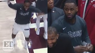 LeBron James On Court With No Shoes