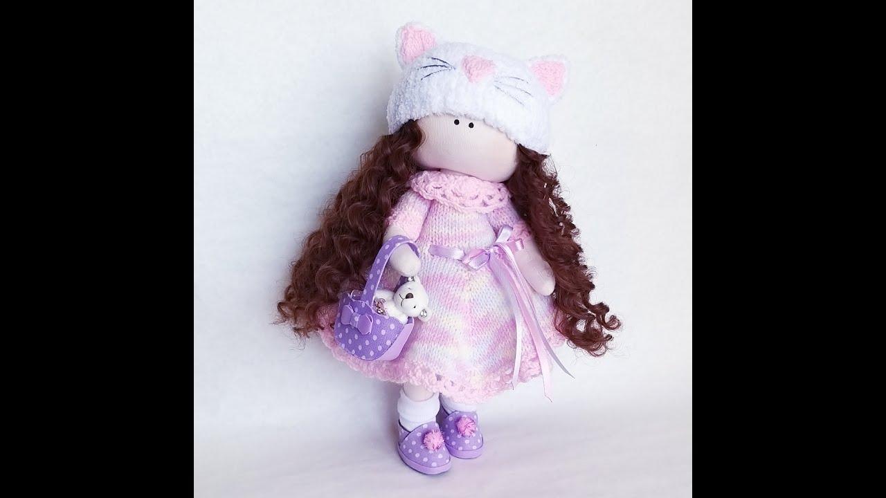 Кукла в вязаном платье. - YouTube