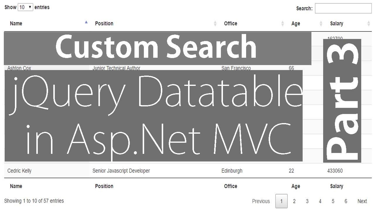 Custom Search in jQuery Datatable - Part 3