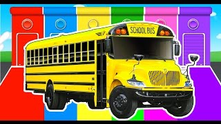 Cars & Bus in Fun Colors for Kids w Learn Truck - Colours Learning Video for Children