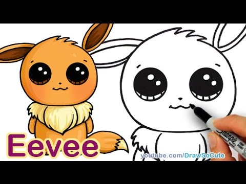 How to Draw Pokemon Eevee step by step Easy and Cute - YouTube