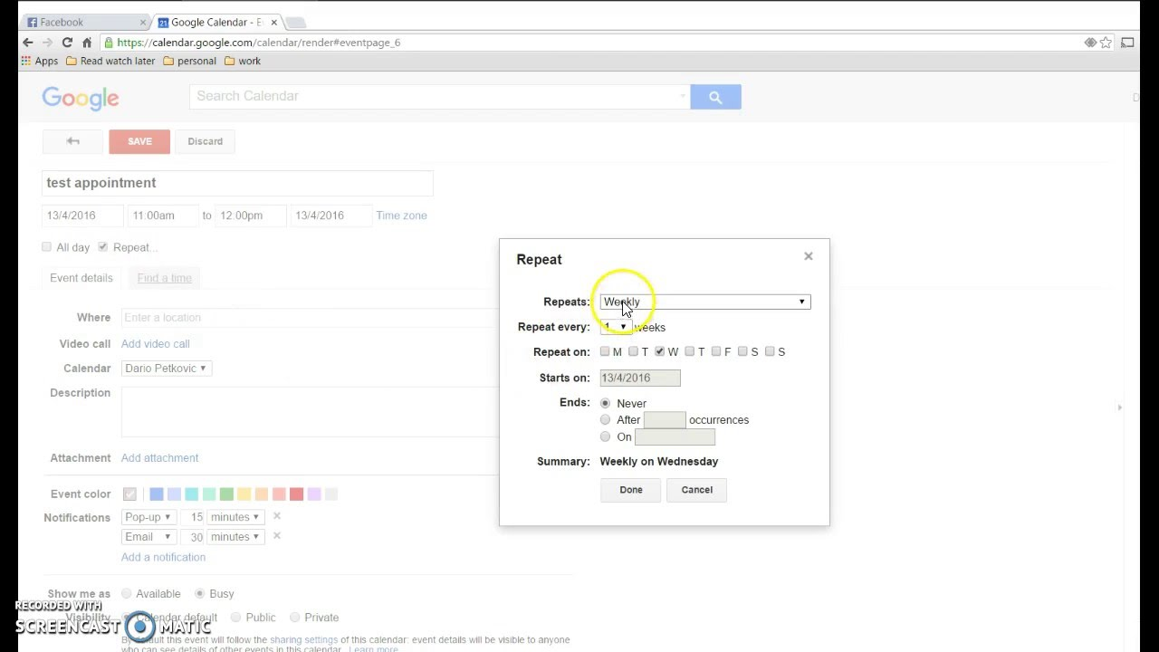 How delete all recurring appointments in Google calendar