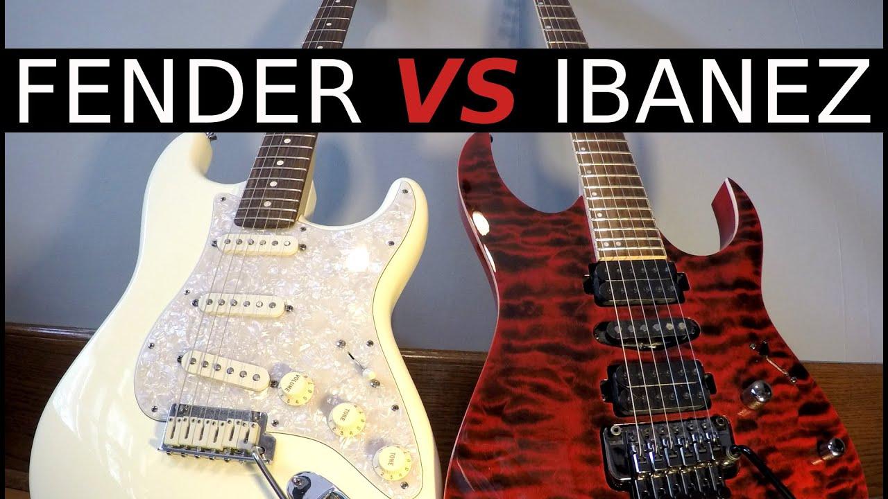 FENDER vs IBANEZ - Guitar Tone Comparison! - YouTube