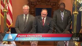 Sen. Shirkey welcomes Pastor Lang to the Michigan Senate