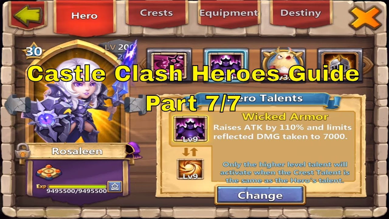 Castle Clash All Heroes Best Talents, Enchantments, Traits, Insignias, Pets  @ Million Might (7/7)