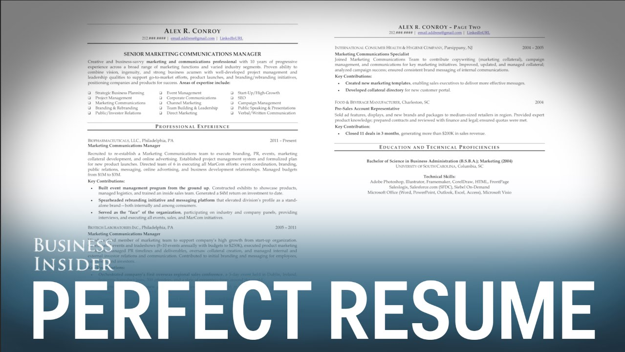 A Resume Expert Reveals What A Perfect Resume Looks Like Youtube