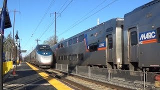 Amtrak/MARC Northeast Corridor Action At Edgewood, MD (ACS-64 601) - High Speed Trains At Their Best