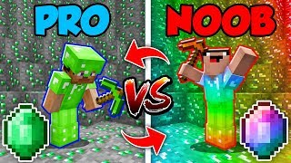 Minecraft NOOB vs. PRO : SWAPPED EMERALD LIFE BATTLE in Minecraft (Animation)