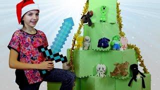 Новогодняя елка Майнкрафт с подружкой Светой