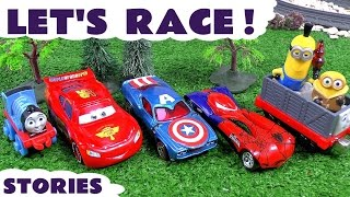 thomas and friends race cars racing toys spiderman hot wheels play doh can heads tmnt avengers