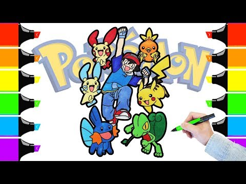 Pokémon Ash And Friend Coloring Book Pages For Kids Speed Coloring Pikachu