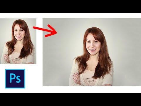 Как увеличить фон на фото в фотошопе