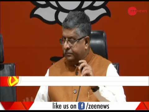 Union minister Ravi Shankar Prasad addresses a press conference
