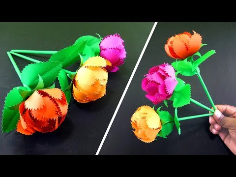 How to Make A Simple Gift Flower   Easy Handmade Gift Ideas : DIY Paper Crafts