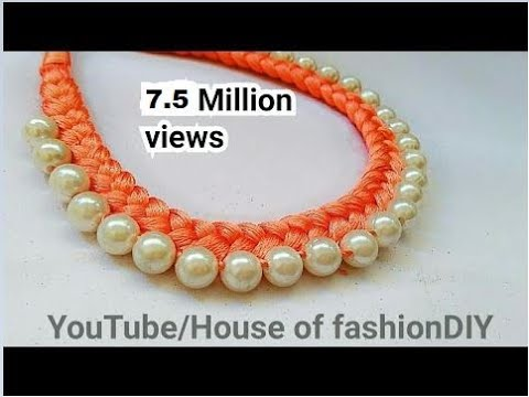How To Make Silk Thread Necklace  Pearl Necklace At Home.!