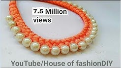 How To Make Silk Thread Necklace||Pearl Necklace At Home.!