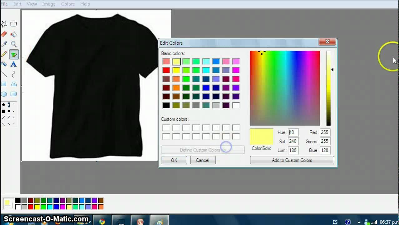 Como hacer una camisa de futbol en paint youtube for Como disenar tu bano