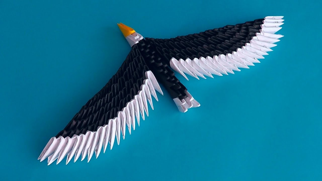medium resolution of 3d origami eagle hawk assembly diagram tutorial instructions youtube