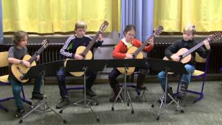Young guitarquartet play Courante by Michael Praetorius
