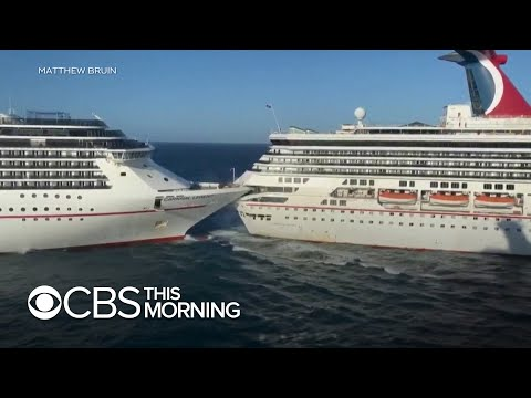 Carnival Cruise Ships Collide At Mexican Port