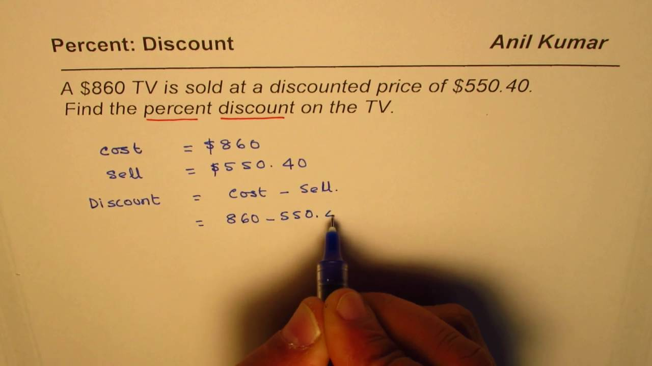 How To Find Percent Discount From Cost And Selling Price Youtube