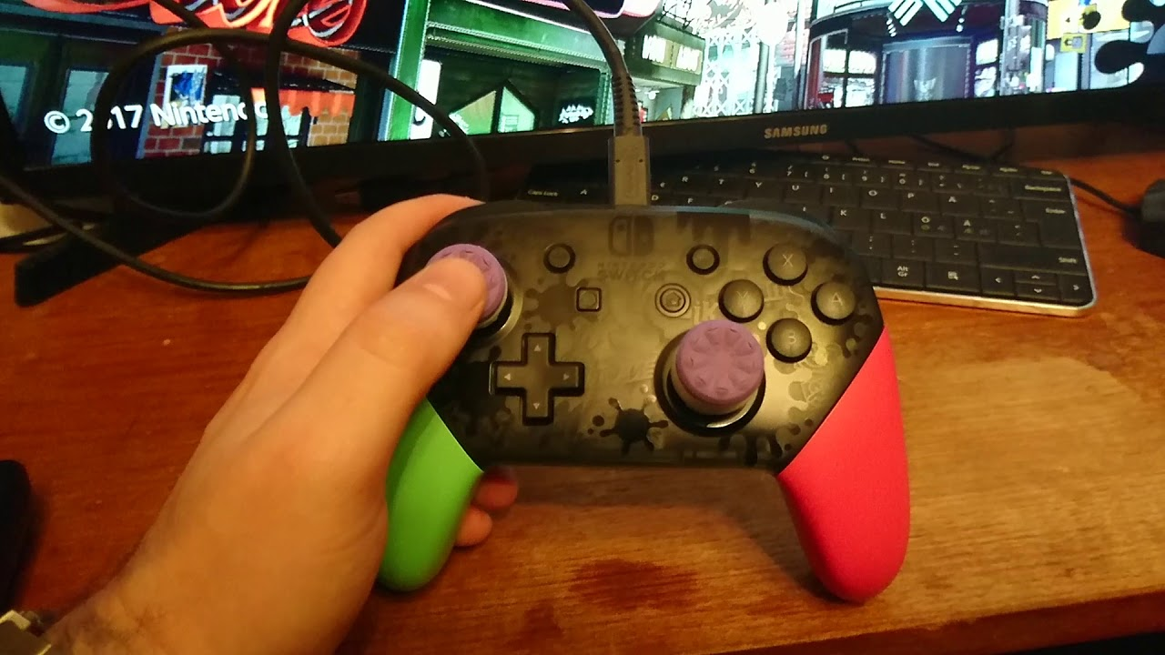 Nintendo Switch Pro Controller Splatoon 2 Edition with PS4 KontrolFreeks!