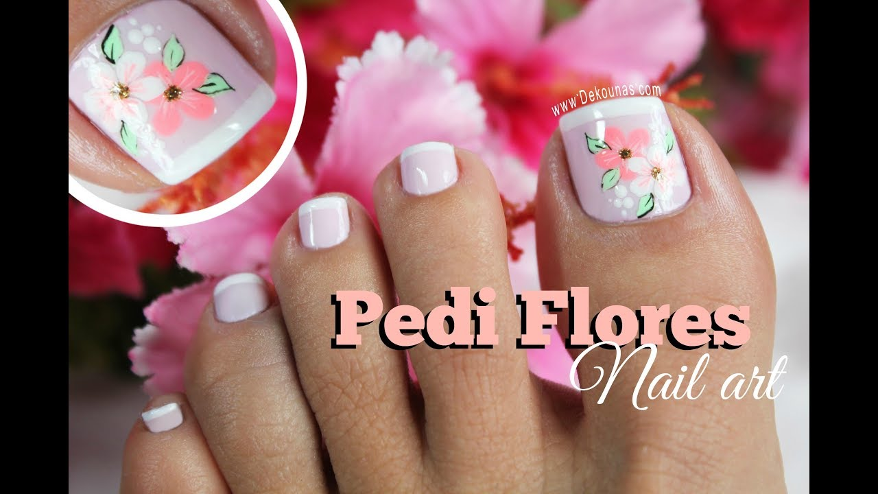 Diseño de uñas Pies de flores FACIL - Easy flowers Toenail art - YouTube