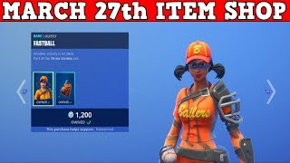 Fortnite Item Shop (March 27th) | *NEW* FASTBALL & SLUGGER SKINS! GRAND SLAMMER PICKAXE!