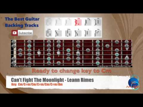 Can't Fight The Moonlight - Leann Rimes Guitar Backing Track with scale chart and chord progression