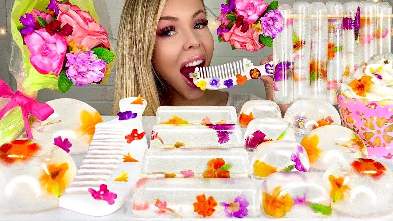 ASMR EDIBLE FLOWERS, RAINDROP CAKE, EDIBLE FLOWER BOUQUET MUKBANG 먹방 HUNNIBEE ASMR 꿀벌