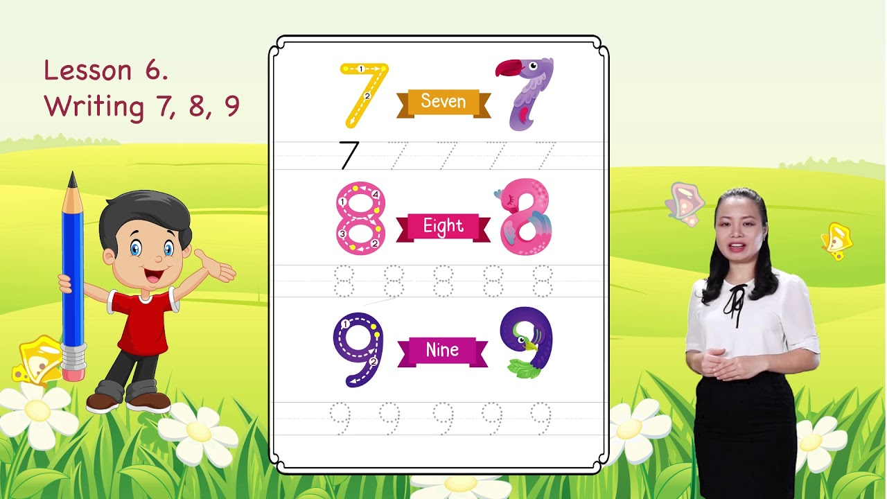 Math For Kids | Lesson 6. Writing 7, 8, 9 - Writing Numbers | Kindergarten image