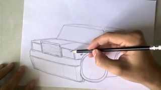 Нарисованная машина ВАЗ 2107 (рисунок, как нарисовать) fast drawing russian car(Парень рисует ваз 2107, ускоренная съемка., 2014-07-04T15:29:01.000Z)