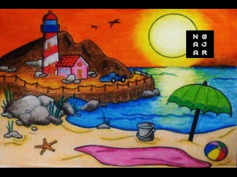 Mewarnai Air Laut Pantai Dengan Crayon Bagus Hasilnya Youtube