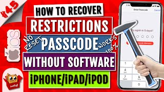 Recover Restrictions Passcode Without Software(iPhone X/Xs/XsMax/8/7/6/5/iPad/iPod) | iOS 11/10/9