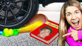 Crushing Soft and Crunchy Things with my New Car! Rebecca Maddie Challenges